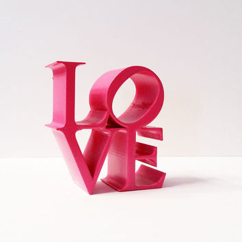 Love Statue, Philadelphia Love Icon, Love Art, Love Ornament, 3D Printed Love Figurine, Pink Love Ornament, Love Figurine, Love Decor, Love