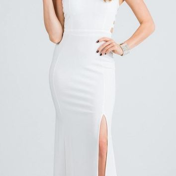Off White Embellished Mermaid Long Prom Dress with Side Cut-Outs
