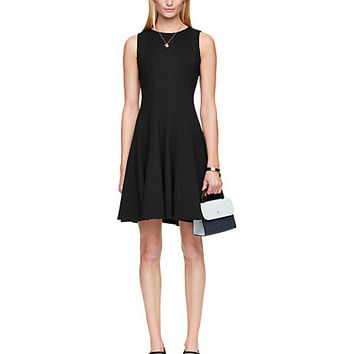 Kate Spade Pleated Ponte Dress Black