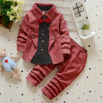 Baby Boys Burgundy Long Sleeve Gentleman Suit