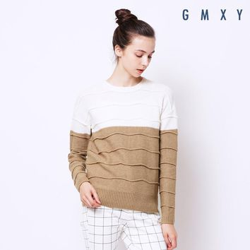 Women's new corrugated bump color pullover