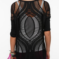Sparkle & Fade Patterned Mesh Top