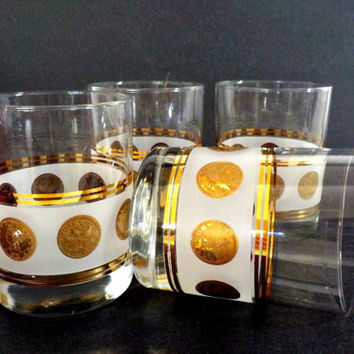 Set of 4 Highballs Lowballs, Retro Barware, Gold Coin, Frosted Band, Elegant Hollywood Regency Mid Century Barware
