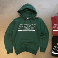 Puma cotton round neck long-sleeved sweater street men and women lovers section green