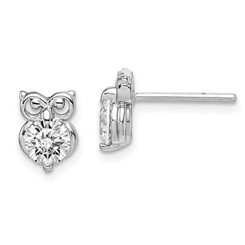 Sterling Silver Round Clear CZ Owl Post Stud Earrings