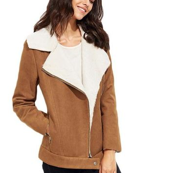 SheIn Womens Winter Jackets and Coats Women Outerwear Fashion Jackets Camel Faux Shearling Asymmetric Zip Jacket