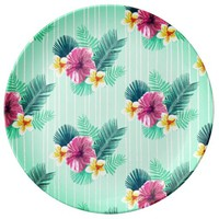 Cool blue base with pink floral texture dinner plate