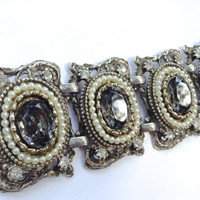 Victorian Revival Link Bracelet with Grey Foil Back Glass Stones Vintage Fashion Jewelry