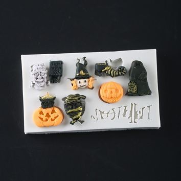 Halloween Themed Pumpkin Silicone Mold Fondant Mould Cake Decorating Tools Chocolate Gumpaste Molds, Sugarcraft, Kitchen Gadgets