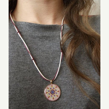 On Sale Mandala necklace - Mandala Pendant - Leather Necklace - Leather Jewelry - String necklace - White Jewelry - Yoga Necklace - Yoga Jew