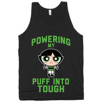 Powering My Puff Into Tough 2, Green, Power Puff Girls Workout Tank Top, American Apparel T Shirt