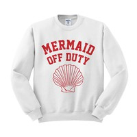 Mermaid Off Duty (Red) Crewneck Sweatshirt
