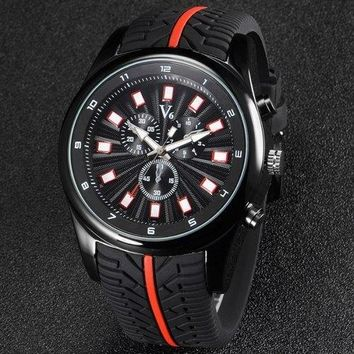 V6 V0281 Male Decorative Sub-dials Quartz Watch with Rubber Band - Orange