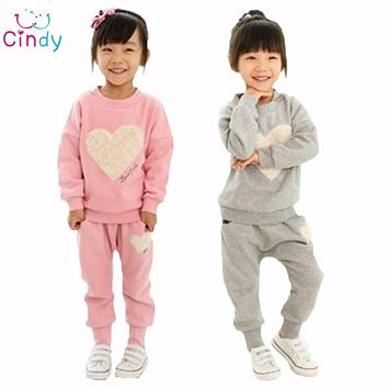 clothing kids girls clothes sets,baby girl long sleeve + pant set Children love sports kids clothing sets