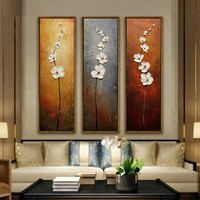 Unframed 3Pcs Colorful Flower Canvas Abstract Painting Print Art Wall Home Bedroom Decor Fashion Accessories