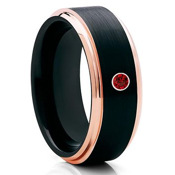 Ruby Tungsten Ring,Tungsten Wedding Band,Black Tungsten,Unisex Tungsten,Brushed