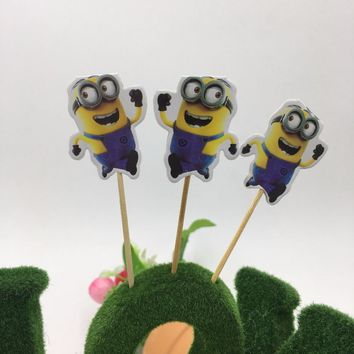 20pcs Minions cake dessert topper baby shower supplies Minions cake toppers Minions cake picker birthday party supplies