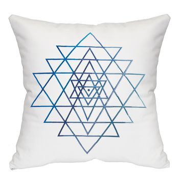 Sri Yantra Throw Pillow - White & Blue