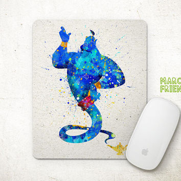 Aladdin Mouse Pad, The Genie Watercolor Art, Mousepad, Home Art, Gifts Idea, Art Print, Desk Decor, Disney Accessories
