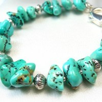 Kingman Turquoise Nugget Sterling Silver Beaded Bracelet