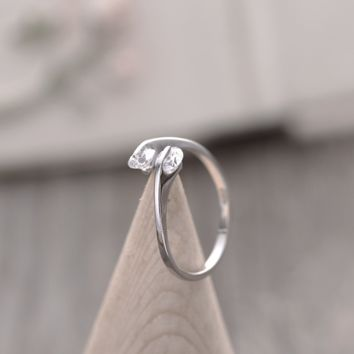 Double Crystals Women Rings Lady Engagement Wedding Ring Elegant Cute Fashion Jewelry