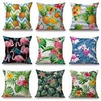 Pineapple Banana Cushion Cover Flamingo Flower Tropical Tree Pillow Covers 45X45cm Thin Linen Cotton Bedroom Sofa Decoration