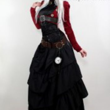 50% OFF! Dark red open-bust tailcoat