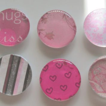 Pink Magnets, Set of 6 Magnets