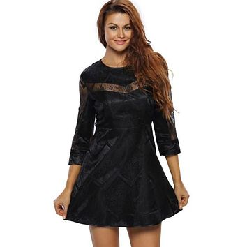 Black Lace A-Line Mesh Women's Day Dress