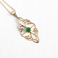Genuine Emerald Necklace - Antique 10k Yellow Gold Brooch Conversion Pendant - Edwardian Filigree Adjustable Chain Green Gem Fine Jewelry