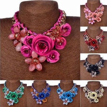 Statement Choker Flower Necklace Crystal Chunky Collar Pendant Fashion Jewelry [8081688775]
