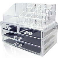 Acrylic Makeup Organizer Cosmetic Jewerly Display Box 2 Piece Set by AcryliCase®