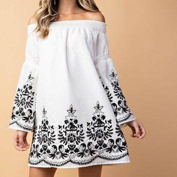 Holiday in Tuscany Off Shoulder Dress - White
