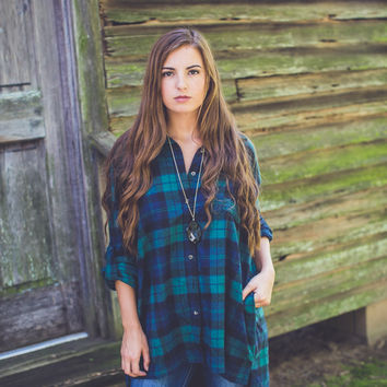 Classic Boxy Flannel in Green