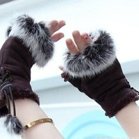 E-Tribe Best Sale Fashion Cute Rabbit Faux Fur Hand Wrist Winter Warmer Women Lady Girls Soft Fingerless Gloves Great Chrismas Gift (Coffee)