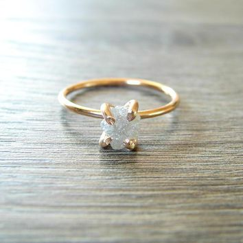 Stunning White Raw Diamond & 14K Rose Gold Fill Band, Engagement Ring for Women, Proposal Ring, Wedding Ring, Vow Exchange Ring, Anniversary