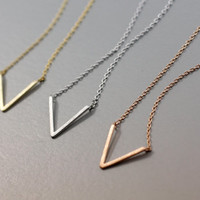 Chevron / Geometric / 'V' Geometric Pendant Necklace  -  Available color as listed ( Gold, Silver, Pink Gold )