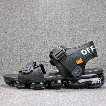 08aba03fba3 Off White x Nike Air VaporMax Sandals Triple Black Slides 850588-001 Flip  Flops -