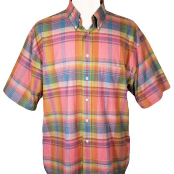 Men's Shirt, Casual Shirt, Short Sleeve, Button Down Shirt, Plaid Shirt, Collar Shirt, Pendleton- XL