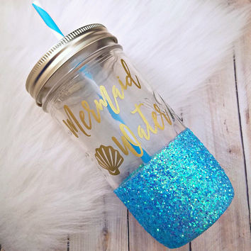 Mermaid Water Glitter Mason Jar - Glitter Cup - Mason Jar Tumbler - Teacher Gift - Unique Gift - Beach Lovers - Mason Jar Cup - Ocean - Sea