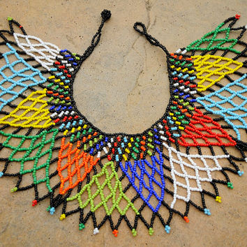 African Statement necklace,Beaded Collar Necklace,Traditional African Beadwork,African Seed Bead,Beaded Zulu Jewellery,Shoulder Necklace