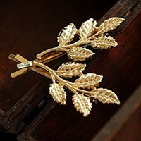 Minimalist Dainty 2Pc Gold Silver Retro Patina Verdigris Athena Olive Festival Garland Floral Metal LEAF Leaves Branch Metal Grecian Hairpin Hair Clips Accessories Bobby Pin Woodland Garden Wedding Fairy Bridesmaids Brides Statement Hair Ornament Decoratio