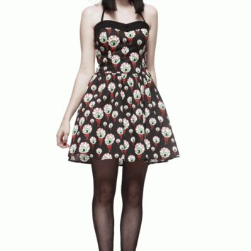 Hell Bunny – Classic Halloween Eyeball Perry Dress In Black/Multi | Thirteen Vintage