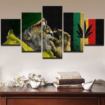 Modern Wall Art Canvas Prints Picture 5 Panel Weed Smoke Cloud Landscape Canvas Painting Modular Painting Decor Picture