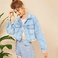 Blue Ripped Frayed Edge Flakes Crop Denim Jeans Jacket Women Single Breasted Casual Outwear Coat Jackets