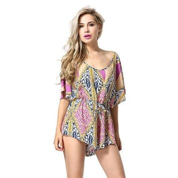 ESBONFI Women Silk Chiffon Jumpsuit Summer Hollow Out Backless Bodysuit Sexy Playsuit Casual Loose Rompers Beach Printed Jumpsuits AF101