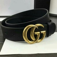 DCCK2 GUCCI Woman Fashion Smooth Buckle Belt Leather Belt-3