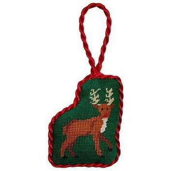 Reindeer Needlepoint Christmas Ornament in Green by Smathers & Branson
