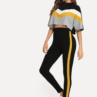 Color Block Batwing Sleeve Top & Pants Co-Ord