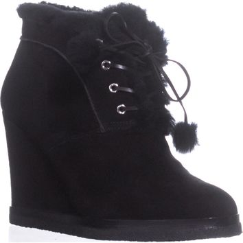 MICHAEL Michael Kors Chadwick Wedge Ankle Booties, Black Suede, 9 US / 39.5 EU